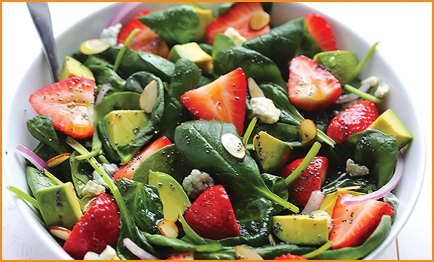 Avocado Strawberry Spinach Salad w/ Poppyseed Dressing - 360 ...